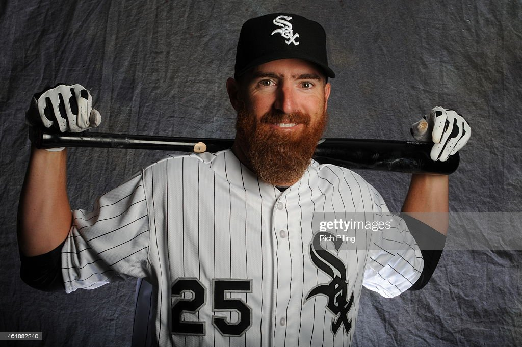 <a gi-track='captionPersonalityLinkClicked' href=/galleries/search?phrase=Adam+LaRoche&family=editorial&specificpeople=216533 ng-click='$event.stopPropagation()'>Adam LaRoche</a> #25 of the Chicago White Sox poses for a portrait during Photo Day on February 28, 2015 at Camelback Ranch-Glendale in Glendale, Arizona.
