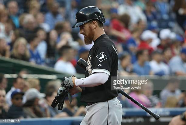 Adam LaRoche of the Chicago White Sox reacts after striking out in the fourth inning during MLB game action against the Toronto Blue Jays on May 25...