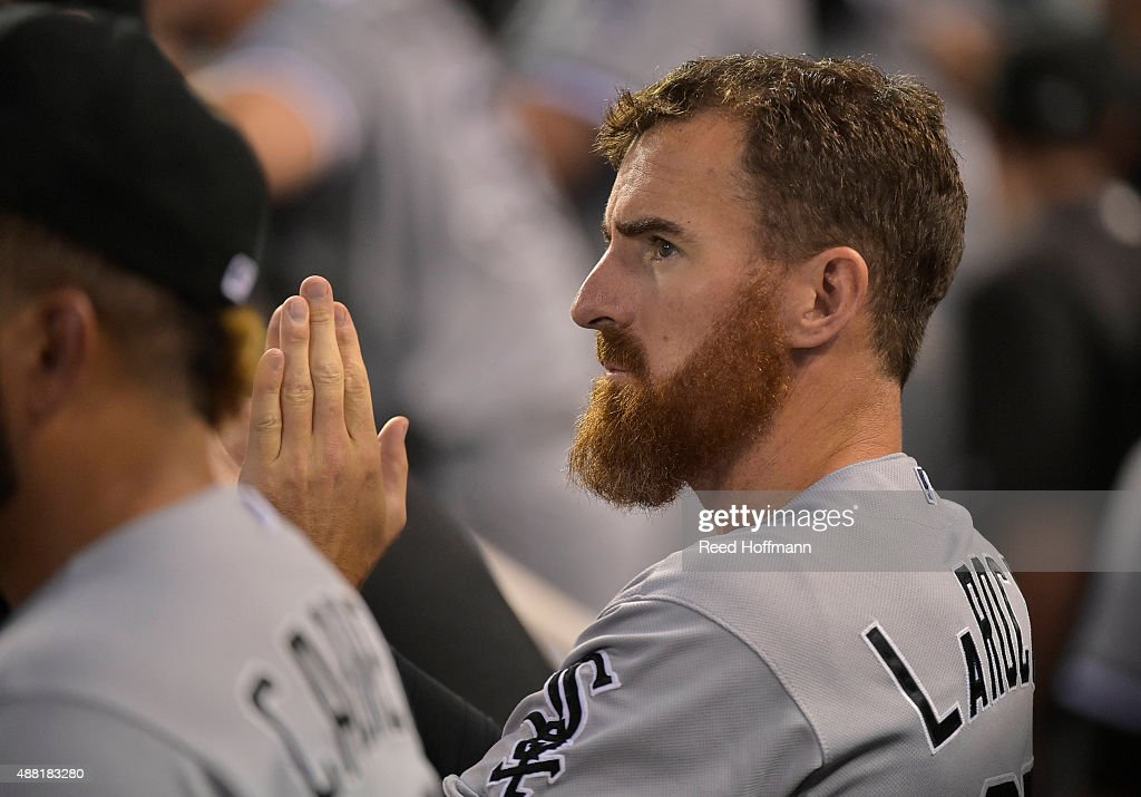 <a gi-track='captionPersonalityLinkClicked' href=/galleries/search?phrase=Adam+LaRoche&family=editorial&specificpeople=216533 ng-click='$event.stopPropagation()'>Adam LaRoche</a> #25 of the Chicago White Sox watches their game against the Kansas City Royals during the sixth inning at Kauffman Stadium on September 5, 2015 in Kansas City, Missouri. The White Sox won the game 6-1.