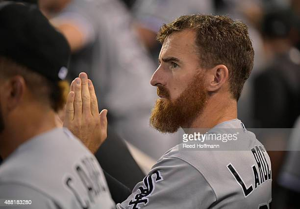 Adam LaRoche of the Chicago White Sox watches their game against the Kansas City Royals during the sixth inning at Kauffman Stadium on September 5...