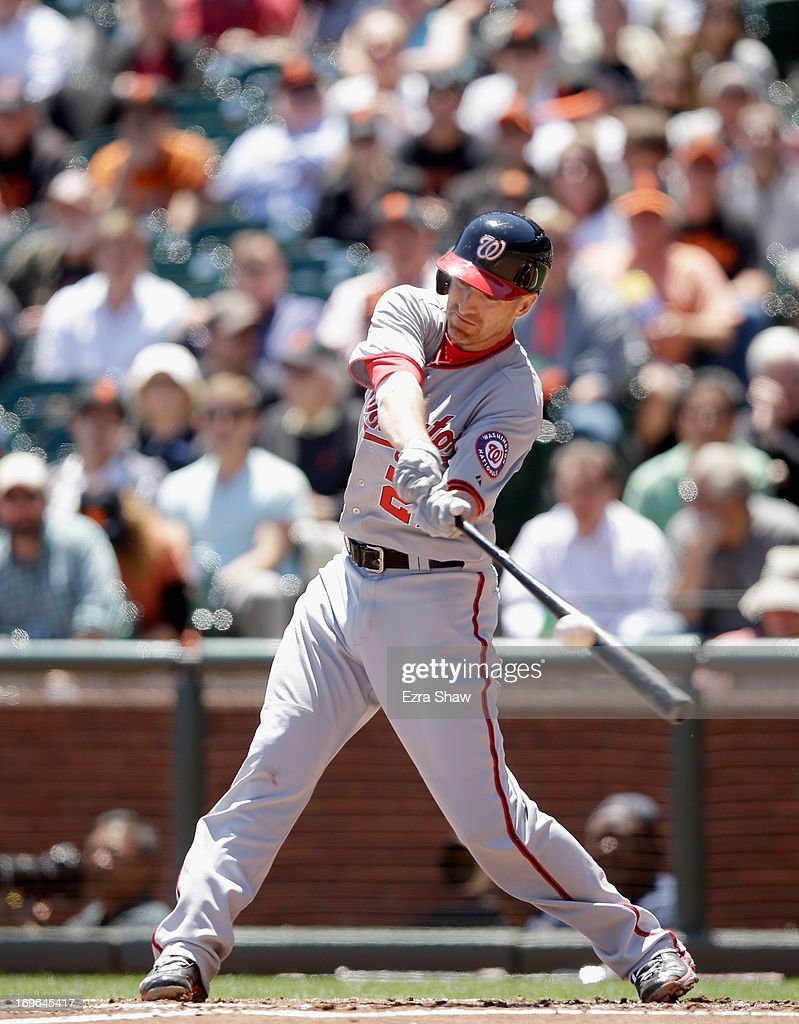Adam LaRoche #25 of the Washington Nationals bats against the San Francisco Giants at AT&T Park on May 22, 2013 in San Francisco, California.