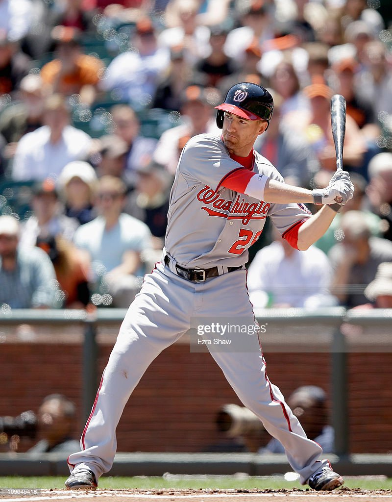 <a gi-track='captionPersonalityLinkClicked' href=/galleries/search?phrase=Adam+LaRoche&family=editorial&specificpeople=216533 ng-click='$event.stopPropagation()'>Adam LaRoche</a> #25 of the Washington Nationals bats against the San Francisco Giants at AT&T Park on May 22, 2013 in San Francisco, California.