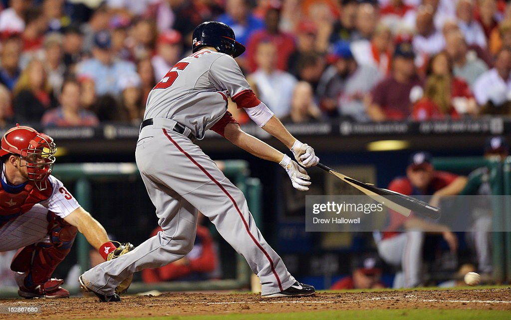 <a gi-track='captionPersonalityLinkClicked' href=/galleries/search?phrase=Adam+LaRoche&family=editorial&specificpeople=216533 ng-click='$event.stopPropagation()'>Adam LaRoche</a> #25 of the Washington Nationals breaks his bat on a ground ball during the game against the Philadelphia Phillies at Citizens Bank Park on September 27, 2012 in Philadelphia, Pennsylvania. The Nationals won 7-3.