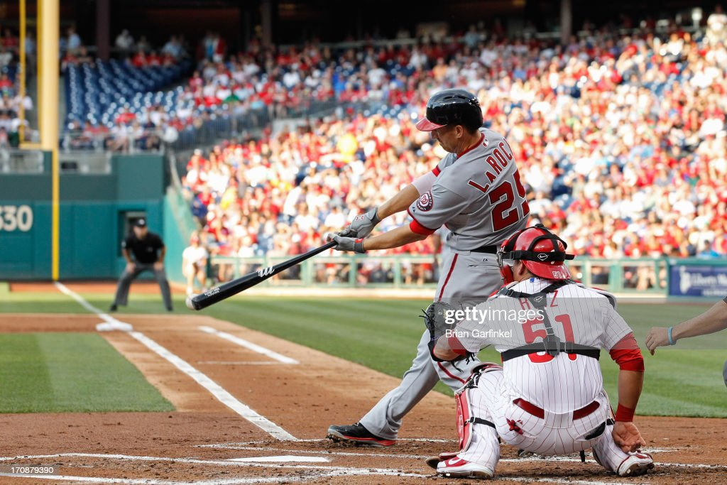 <a gi-track='captionPersonalityLinkClicked' href=/galleries/search?phrase=Adam+LaRoche&family=editorial&specificpeople=216533 ng-click='$event.stopPropagation()'>Adam LaRoche</a> #25 of the Washington Nationals gets a base hit in the second inning of the game against the Philadelphia Phillies at Citizens Bank Park on June 19, 2013 in Philadelphia, Pennsylvania.