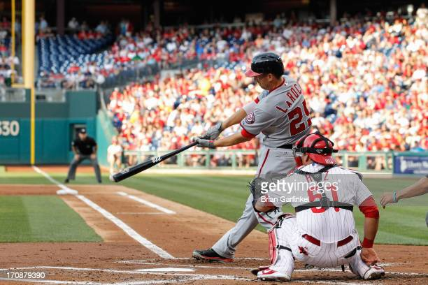 Adam LaRoche of the Washington Nationals gets a base hit in the second inning of the game against the Philadelphia Phillies at Citizens Bank Park on...