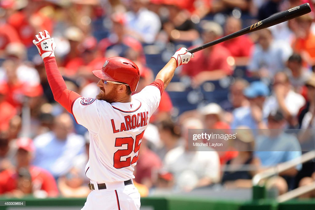 <a gi-track='captionPersonalityLinkClicked' href=/galleries/search?phrase=Adam+LaRoche&family=editorial&specificpeople=216533 ng-click='$event.stopPropagation()'>Adam LaRoche</a> #25 of the Washington Nationals hits his second double of the game in the forth inning during a baseball game against the New York Mets on August 7, 2014 at Nationals Park in Washington, DC. The Nationals won 5-3 in the 13th inning.