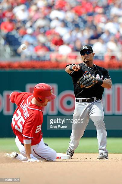 Adam LaRoche of the Washington Nationals is forced out at second base by Donovan Solano of the Miami Marlins to start a double play at Nationals Park...