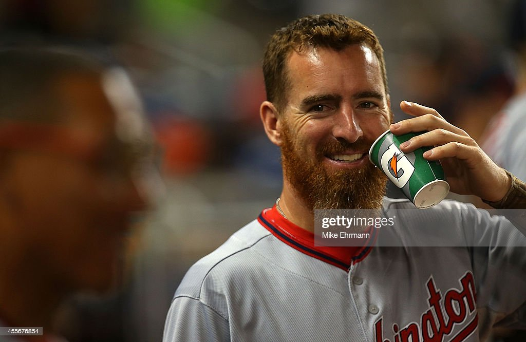 <a gi-track='captionPersonalityLinkClicked' href=/galleries/search?phrase=Adam+LaRoche&family=editorial&specificpeople=216533 ng-click='$event.stopPropagation()'>Adam LaRoche</a> #25 of the Washington Nationals looks on during a game against the Miami Marlins at Marlins Park on September 18, 2014 in Miami, Florida.
