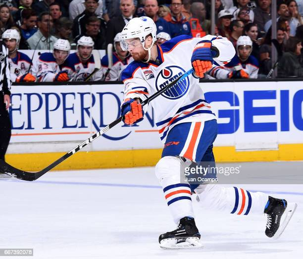 Adam Larsson of the Edmonton Oilers releases a shot during the game against the Los Angeles Kings on April 4 2017 at Staples Center in Los Angeles...