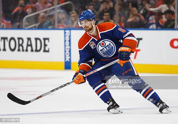 Adam Larsson of the Edmonton Oilers skates against the Calgary Flames on September 26 2016 at Rogers Place in Edmonton Alberta Canada