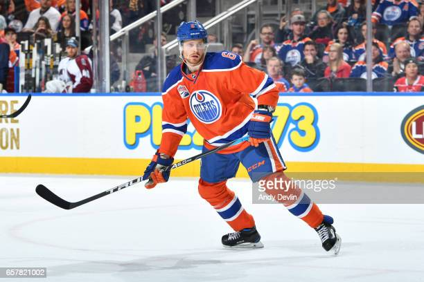 Adam Larsson of the Edmonton Oilers skates during the game against the Colorado Avalanche on March 25 2017 at Rogers Place in Edmonton Alberta Canada