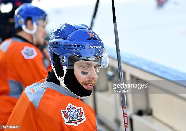 Adam Larsson of the Edmonton Oilers takes a break during practice in advance of the 2016 Tim Hortons NHL Heritage Classic game at Investors Group...