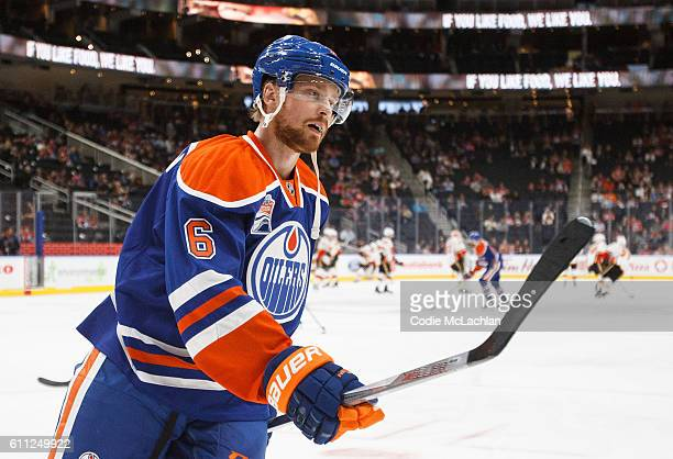 Adam Larsson of the Edmonton Oilers warms up against the Calgary Flames on September 26 2016 at Rogers Place in Edmonton Alberta Canada