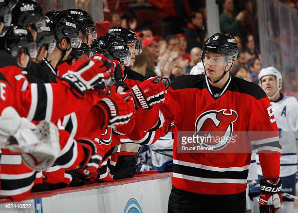 Adam Larsson of the New Jersey Devils celebrates his third period game tying goal against the Toronto Maple Leafs at the Prudential Center on January...