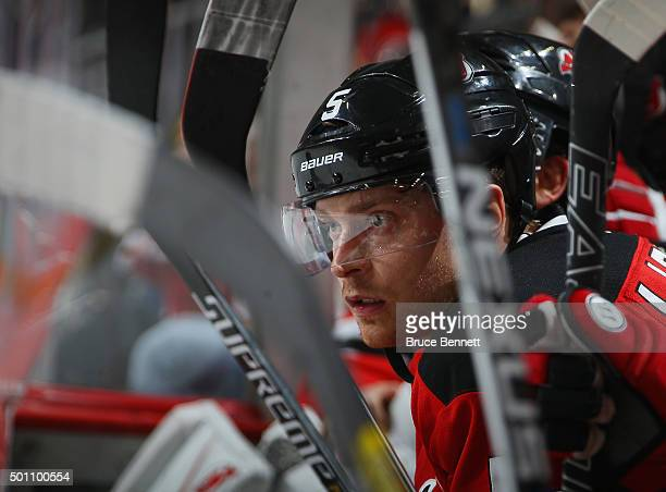 Adam Larsson of the New Jersey Devils plays against the Detroit Red Wings at the Prudential Center on December 11 2015 in Newark New Jersey The...
