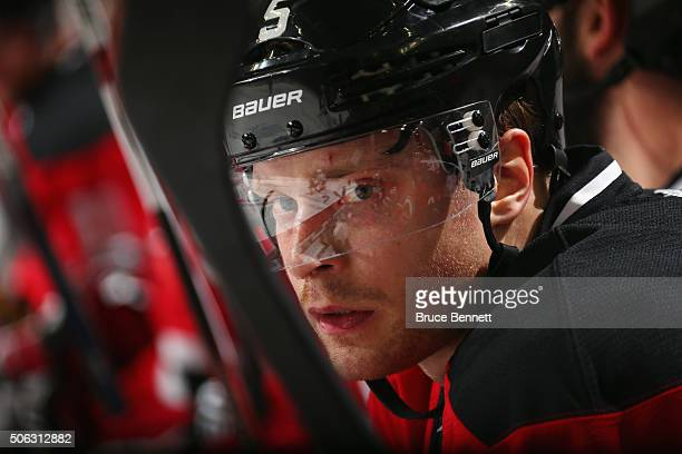 Adam Larsson of the New Jersey Devils prepares to play against the Ottawa Senators at the Prudential Center on January 21 2016 in Newark New Jersey...