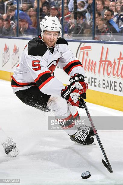 Adam Larsson of the New Jersey Devils skates against the Columbus Blue Jackets on March 31 2015 at Nationwide Arena in Columbus Ohio