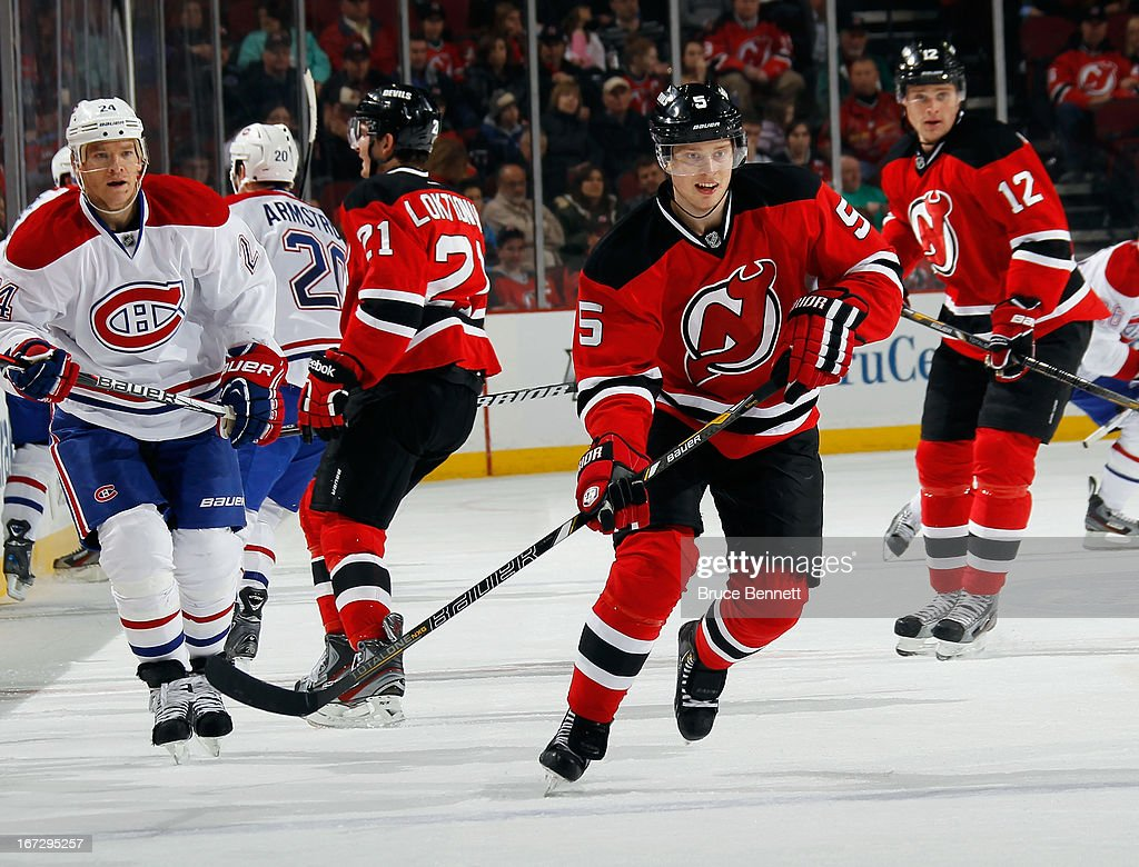 <a gi-track='captionPersonalityLinkClicked' href=/galleries/search?phrase=Adam+Larsson&family=editorial&specificpeople=6705080 ng-click='$event.stopPropagation()'>Adam Larsson</a> #5 of the New Jersey Devils skates against the Montreal Canadiens at the Prudential Center on April 23, 2013 in Newark, New Jersey. The Devils defeated the Canadiens 3-2.