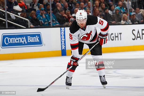 Adam Larsson of the New Jersey Devils skates against the San Jose Sharks at SAP Center on March 10 2016 in San Jose California