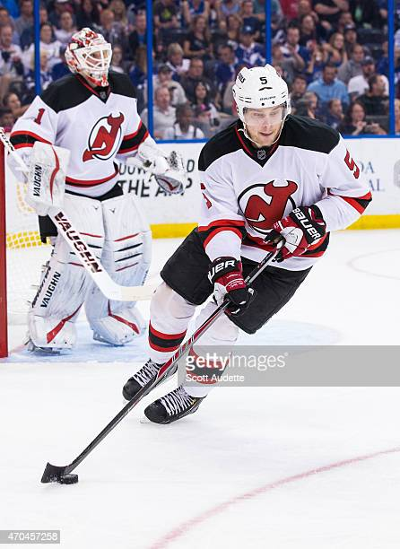 Adam Larsson of the New Jersey Devils skates against the Tampa Bay Lightning during the third period at the Amalie Arena on April 9 2015 in Tampa...