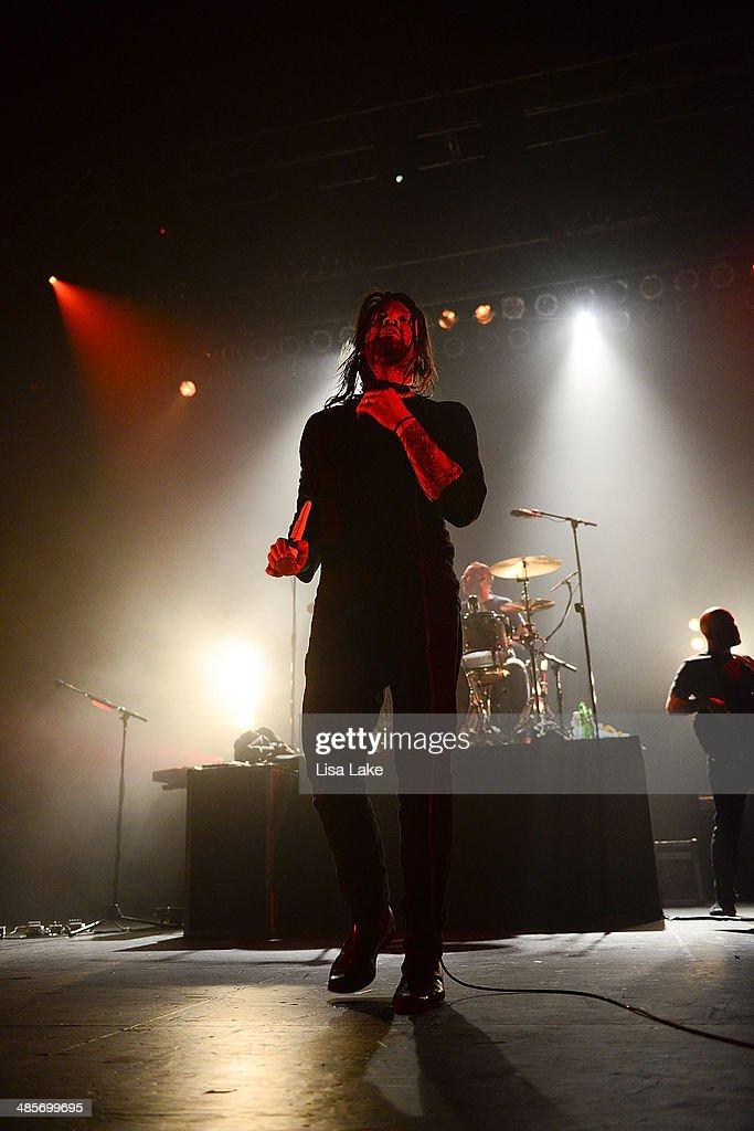 , Adam Lazzara and Shaun Cooper of Taking Back Sunday perform at Sands Bethlehem Event Center on April 19, 2014 in Bethlehem, Pennsylvania.