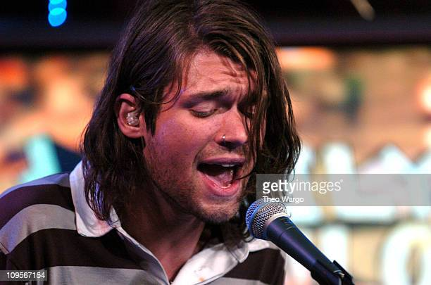 Adam Lazzara of Taking Back Sunday during Taking Back Sunday Visit Fuse's 'Daily Download' August 11 2004 at Fuse Studios in New York City New York...