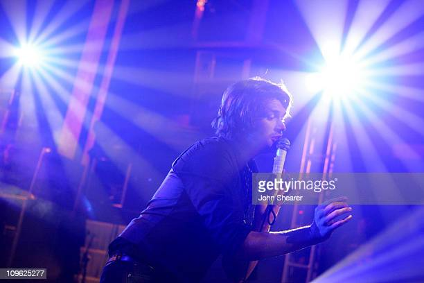 Adam Lazzara of Taking Back Sunday during VMA MTV2 and LifeBeat The Music Industry Fights Aids Concert at Webster Hall in New York City New York...