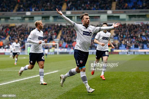 Adam Le Fondre of Bolton celebrates his goal during the Sky Bet Championship match between Bolton Wanderers and Millwall at the Macron Stadium on...