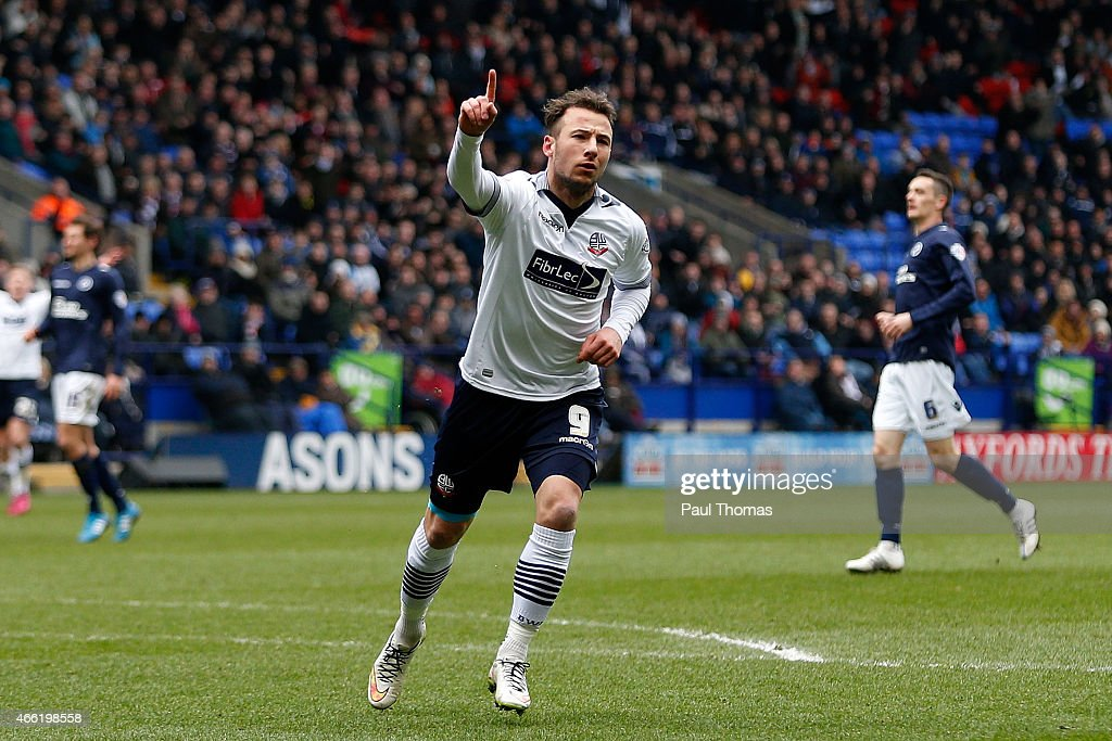 Adam Le Fondre of Bolton celebrates his goal during the Sky Bet Championship match between Bolton Wanderers and Millwall at the Macron Stadium on March 14, 2015 in Bolton, England.