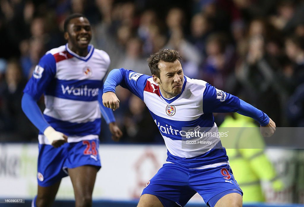 Adam Le Fondre of Reading celebrates his second goal during the Barclays Premier League match between Reading and Chelsea at Madejski Stadium on January 30, 2013 in Reading, England.