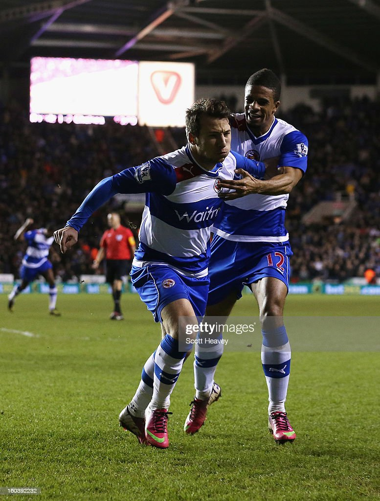 Adam Le Fondre of Reading celebrates his second goal with <a gi-track='captionPersonalityLinkClicked' href=/galleries/search?phrase=Garath+McCleary&family=editorial&specificpeople=5677409 ng-click='$event.stopPropagation()'>Garath McCleary</a> (R) during the Barclays Premier League match between Reading and Chelsea at Madejski Stadium on January 30, 2013 in Reading, England.