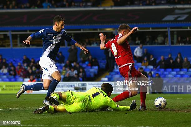 Adam Legzdins of Birmingham City fails to prevent Jordan Rhodes of Middlesbrough scoring the equalising goal during the Sky Bet Championship match...