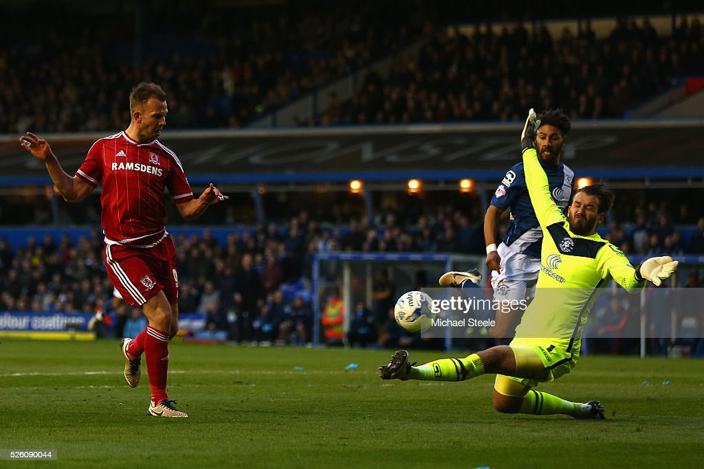 Adam Legzdins of Birmingham City saves from <a gi-track='captionPersonalityLinkClicked' href=/galleries/search?phrase=Jordan+Rhodes+-+Soccer+Player&family=editorial&specificpeople=12860183 ng-click='$event.stopPropagation()'>Jordan Rhodes</a> of Middlesbrough during the Sky Bet Championship match between Birmingham City and Middlesbrough at St Andrews on April 29, 2016 in Birmingham, United Kingdom.