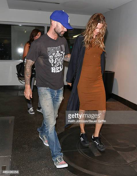 Adam Levine and Behati Prinsloo are seen on August 27 2015 in Los Angeles California