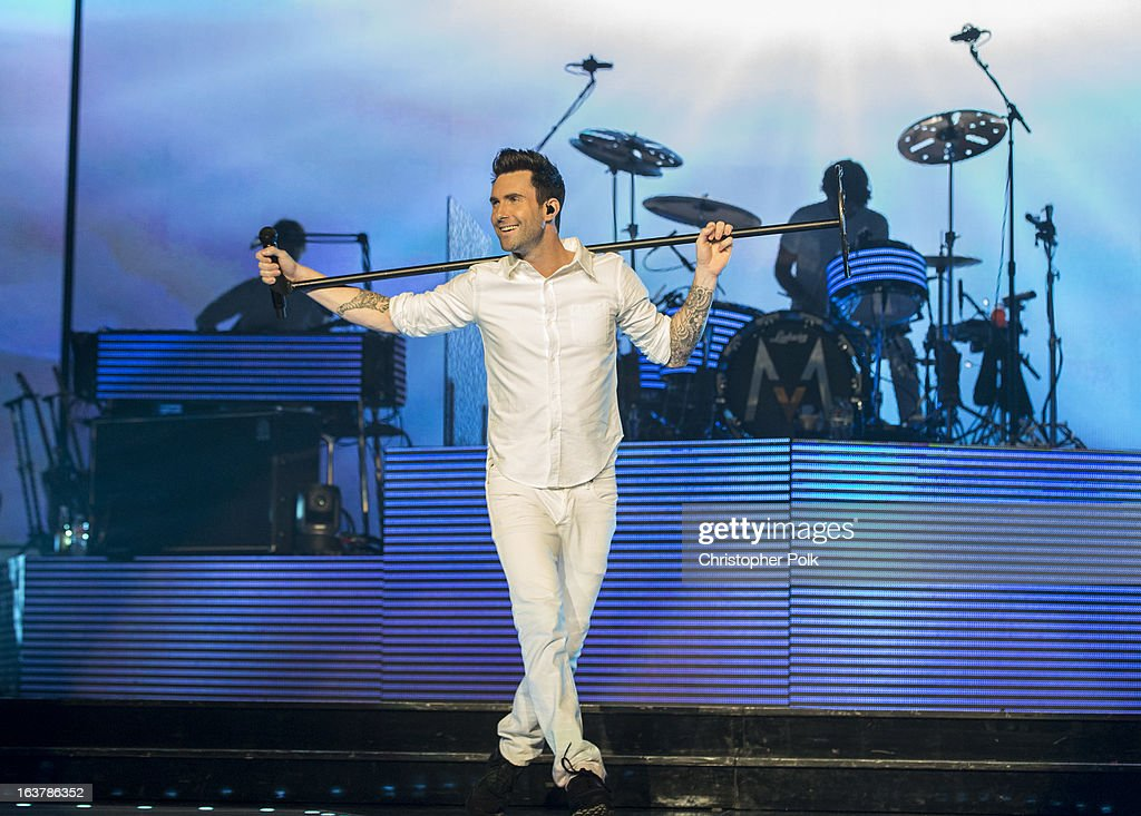 <a gi-track='captionPersonalityLinkClicked' href=/galleries/search?phrase=Adam+Levine+-+Singer&family=editorial&specificpeople=202962 ng-click='$event.stopPropagation()'>Adam Levine</a> and Maroon 5 perform at the Staples Center on March 15, 2013 in Los Angeles, California.