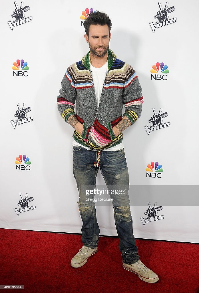 Adam Levine arrives at NBC's 'The Voice' Season 7 red carpet event at HYDE Sunset: Kitchen + Cocktails on December 8, 2014 in West Hollywood, California.