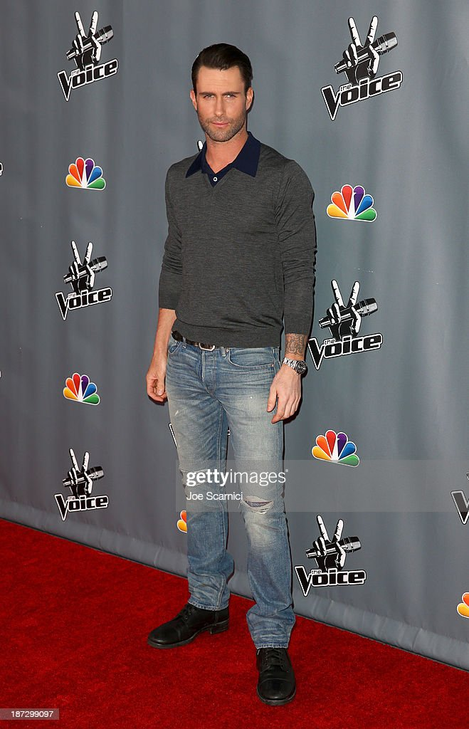 <a gi-track='captionPersonalityLinkClicked' href=/galleries/search?phrase=Adam+Levine+-+Singer&family=editorial&specificpeople=202962 ng-click='$event.stopPropagation()'>Adam Levine</a> arrives to the 'The Voice' Season 5 Top 12 Event at Universal Studios Hollywood on November 7, 2013 in Universal City, California.