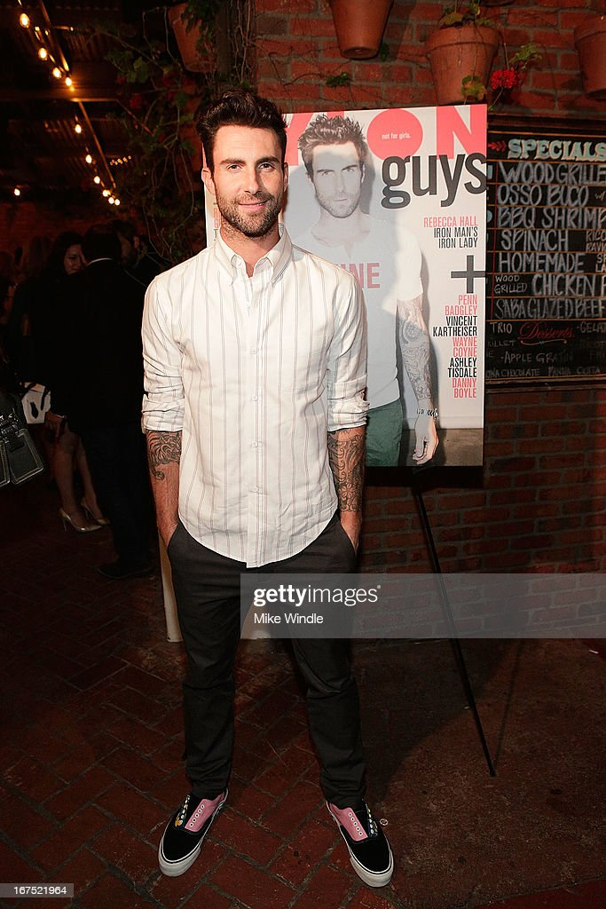 <a gi-track='captionPersonalityLinkClicked' href=/galleries/search?phrase=Adam+Levine+-+Singer&family=editorial&specificpeople=202962 ng-click='$event.stopPropagation()'>Adam Levine</a> attends NYLON Guys and ASOS celebrate April/May cover star <a gi-track='captionPersonalityLinkClicked' href=/galleries/search?phrase=Adam+Levine+-+Singer&family=editorial&specificpeople=202962 ng-click='$event.stopPropagation()'>Adam Levine</a> at Dominick's Restaurant on April 25, 2013 in Los Angeles, California.