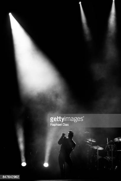 Adam Levine from Maroon 5 perfotms at day 1 of Rock in Rio on September 15 2017 in Rio de Janeiro Brazil