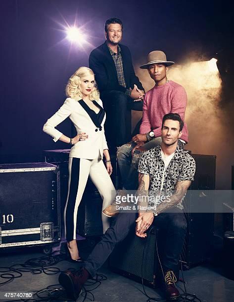 Adam Levine Gwen Stefani Pharrell Williams Blake Shelton for Billboard Magazine on September 9 2014 in Los Angeles California ON DOMESTIC EMBARGO...