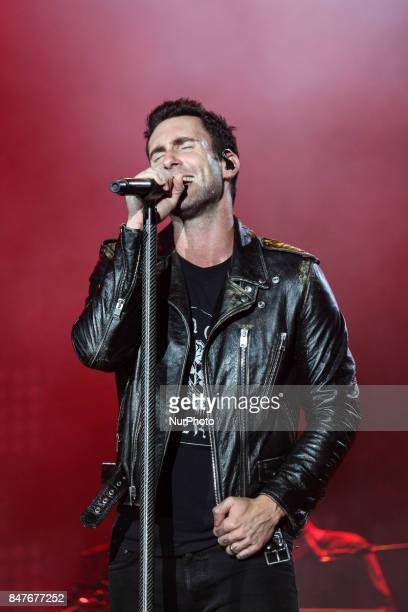 Adam Levine lead singer of the band Maroon 5 performs at Rock in Rio 2017 in Rio de Janeiro Brazil on September 15 2017 The band Maroon 5 performed...
