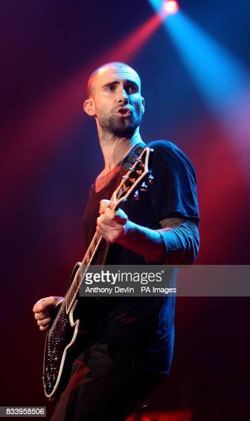 Adam Levine of Maroon 5 live in concert at Wembley Arena in north London