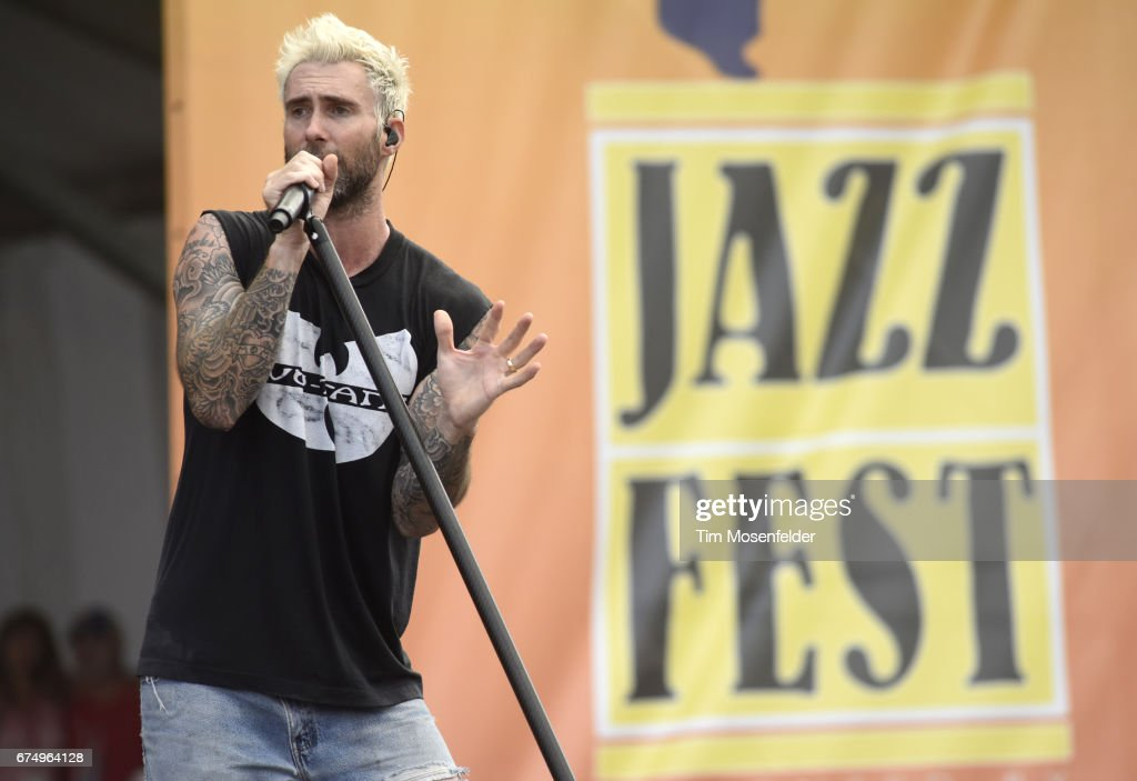 Adam Levine of Maroon 5 performs during the 2017 New Orleans Jazz & Heritage Festival at Fair Grounds Race Course on April 29, 2017 in New Orleans, Louisiana.