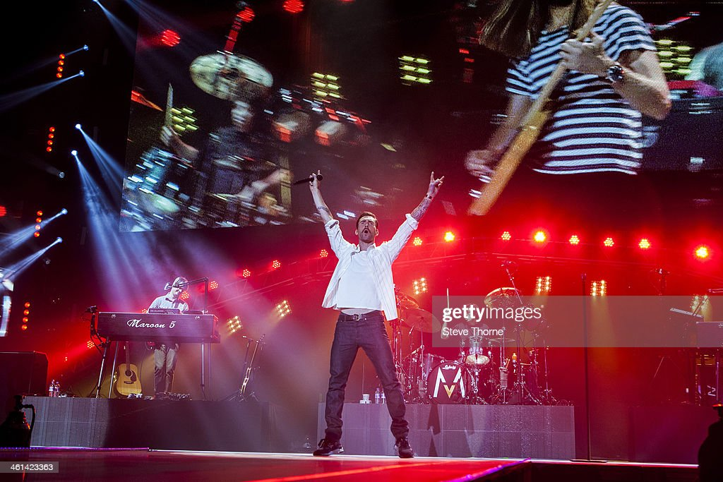 <a gi-track='captionPersonalityLinkClicked' href=/galleries/search?phrase=Adam+Levine+-+Singer&family=editorial&specificpeople=202962 ng-click='$event.stopPropagation()'>Adam Levine</a> of Maroon 5 performs on stage at LG Arena on January 8, 2014 in Birmingham, United Kingdom.