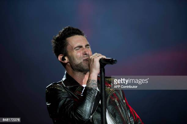 Adam Levine of the American band Maroon 5 performs during the Rock In Rio Festival at the Olympic Park in Rio de Janeiro Brazil on September 16 2017...