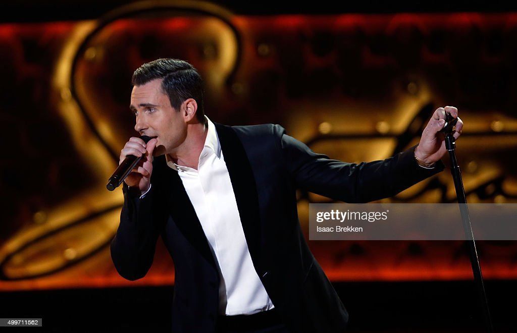 Adam Levine performs during 'Sinatra 100: An All-Star GRAMMY Concert' celebrating the late Frank Sinatra's 100th birthday at the Encore Theater at Wynn Las Vegas on December 2, 2015 in Las Vegas, Nevada. The show will air on CBS on December 6.