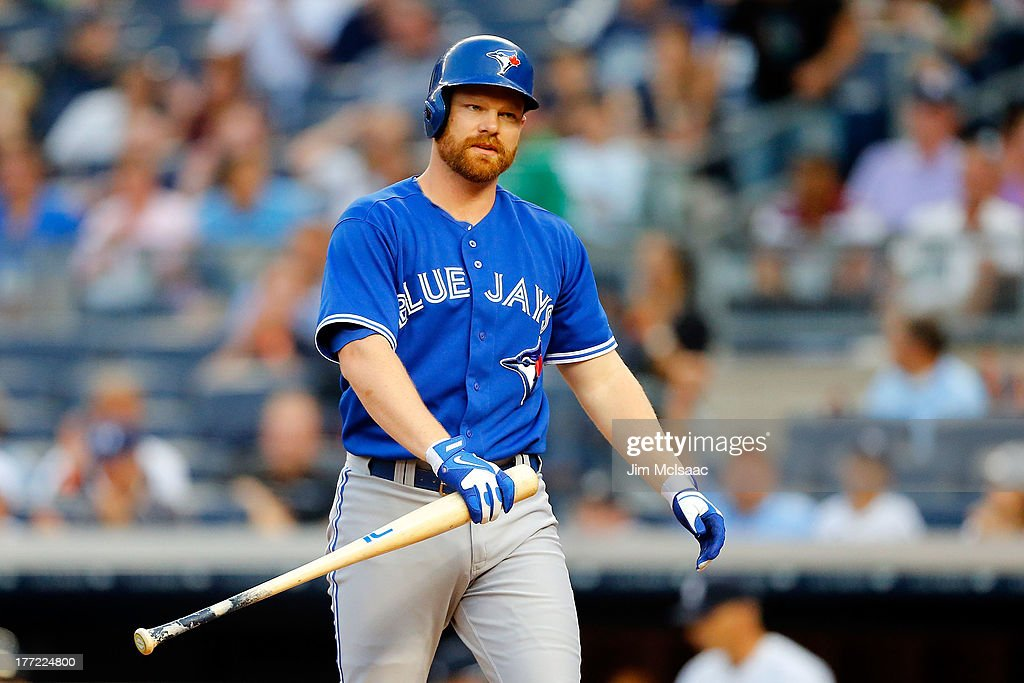 <a gi-track='captionPersonalityLinkClicked' href=/galleries/search?phrase=Adam+Lind&family=editorial&specificpeople=3911783 ng-click='$event.stopPropagation()'>Adam Lind</a> #26 of the Toronto Blue Jays looks on after striking out to end the seventh inning against the New York Yankees at Yankee Stadium on August 22, 2013 in the Bronx borough of New York City.