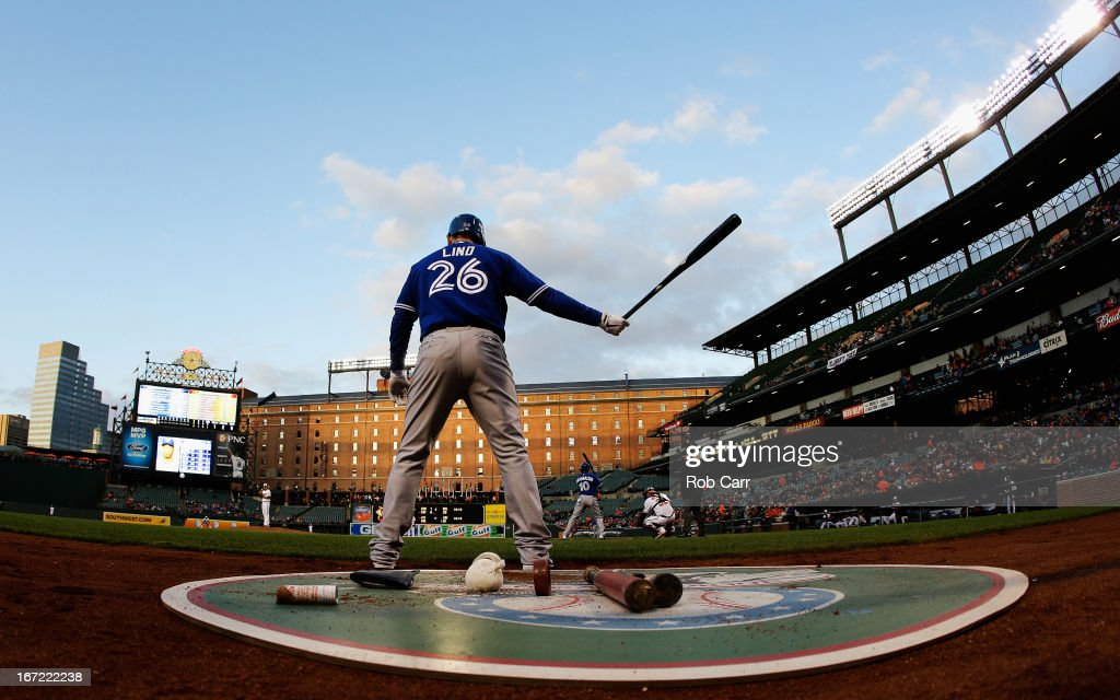 <a gi-track='captionPersonalityLinkClicked' href=/galleries/search?phrase=Adam+Lind&family=editorial&specificpeople=3911783 ng-click='$event.stopPropagation()'>Adam Lind</a> #26 of the Toronto Blue Jays waits to bat against the Baltimore Orioles during the second inning at Oriole Park at Camden Yards on April 22, 2013 in Baltimore, Maryland.