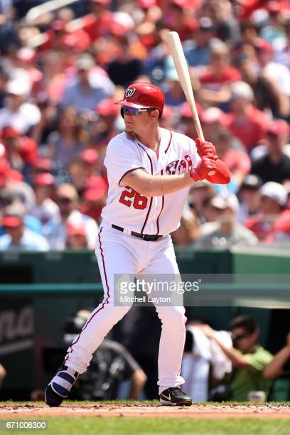 Adam Lind of the Washington Nationals prepares for a pitch during the game against the Philadelphia Phillies at Nationals Park on April 16 2017 in...
