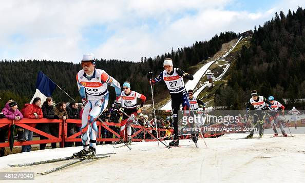 Adam Loomis of USA competes during the FIS Nordic Combined World Cup HS118/10km on January 10 2015 in ChauxNeuve France